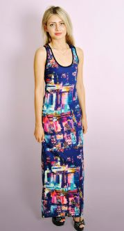 Ladies Brush Stroke Print Maxi Dress